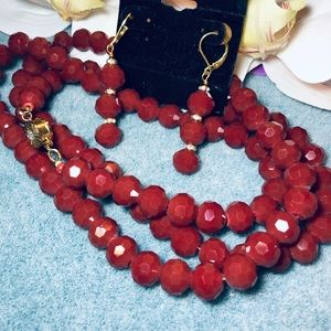 Jewelry - Crystal Ruby Faceted Long Necklace & Earrings Set.